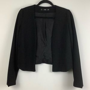 MNG by Mango Open Front Textured Blazer in Black
